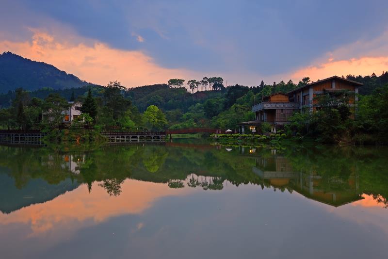向天湖 夕陽