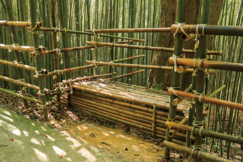 竹子搭建的休息座椅